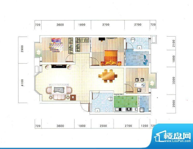 鼎虹·蓝城H户型图 面积:112.18平米