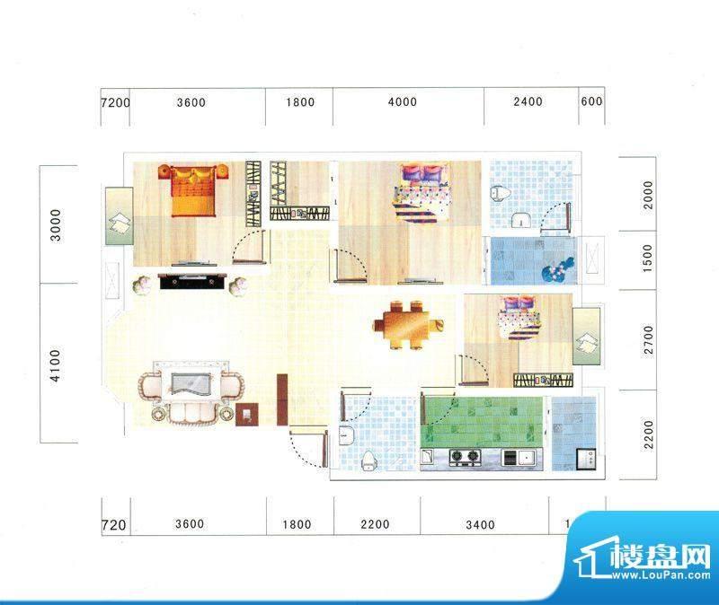 鼎虹·蓝城E4户型图面积:104.18平米