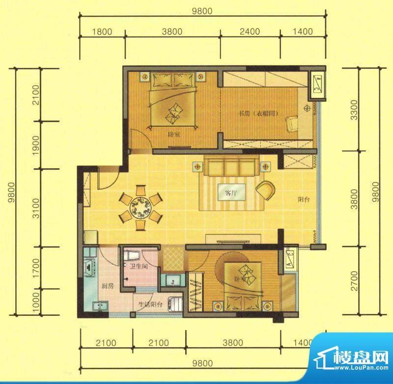 七彩城C8、C4户型图面积:85.30平米
