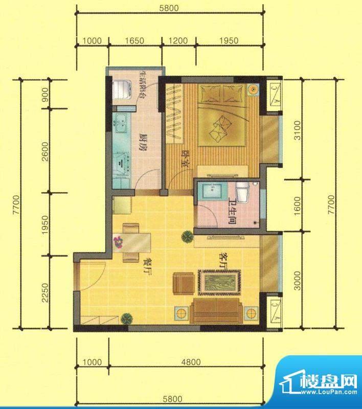 七彩城D1、E1户型图面积:46.56平米