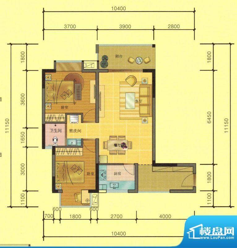 七彩城D3、A3户型图面积:79.83平米