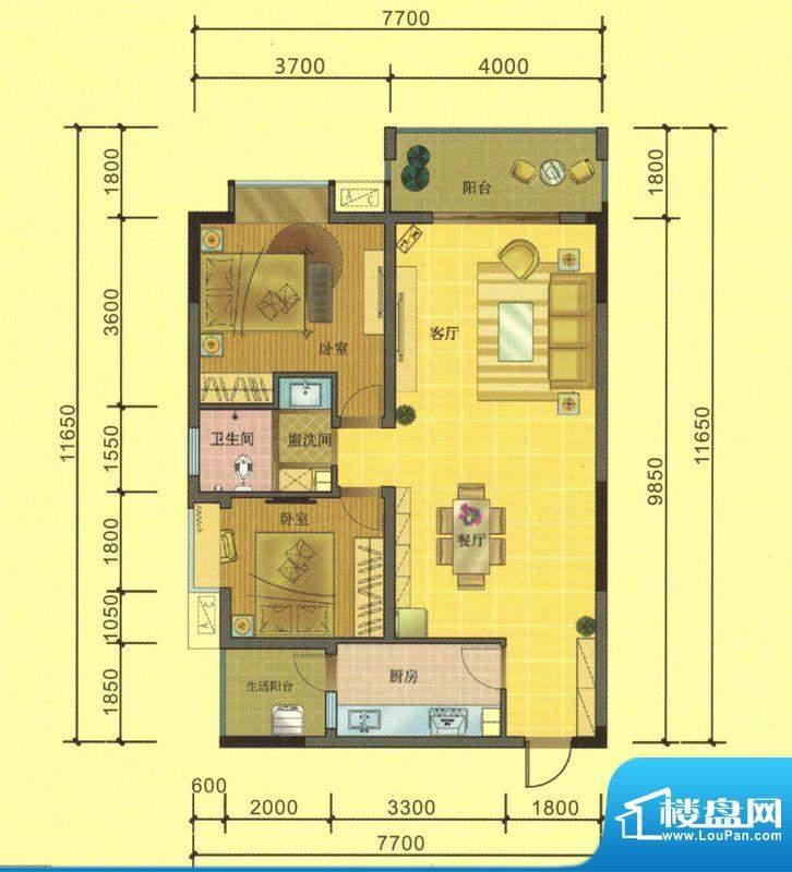 七彩城A1、B1户型图面积:89.83平米