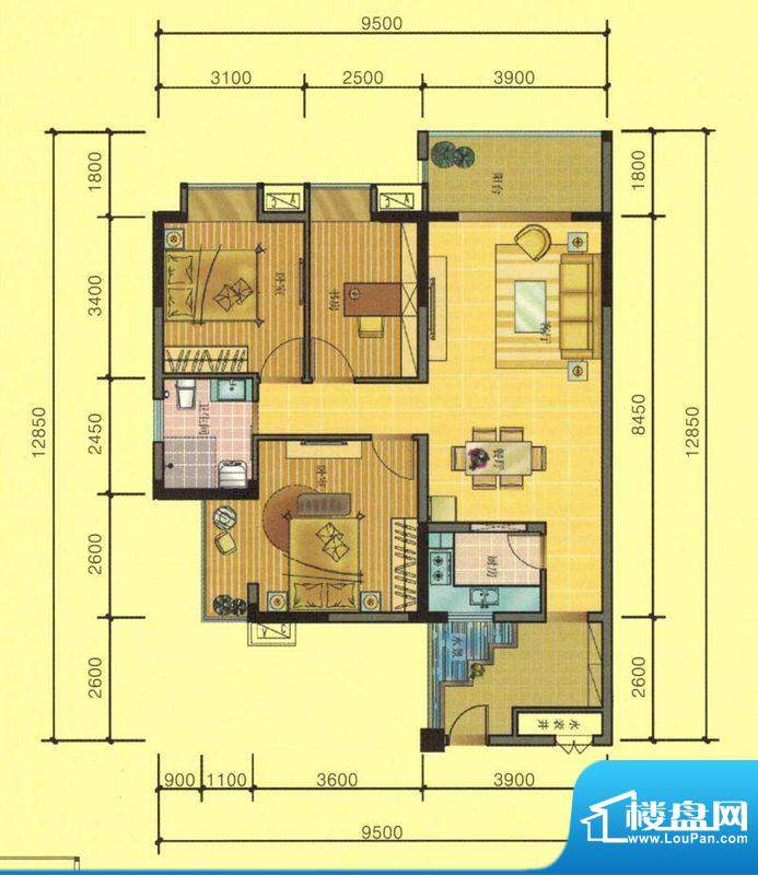 七彩城A4、B3、E3、面积:100.17平米