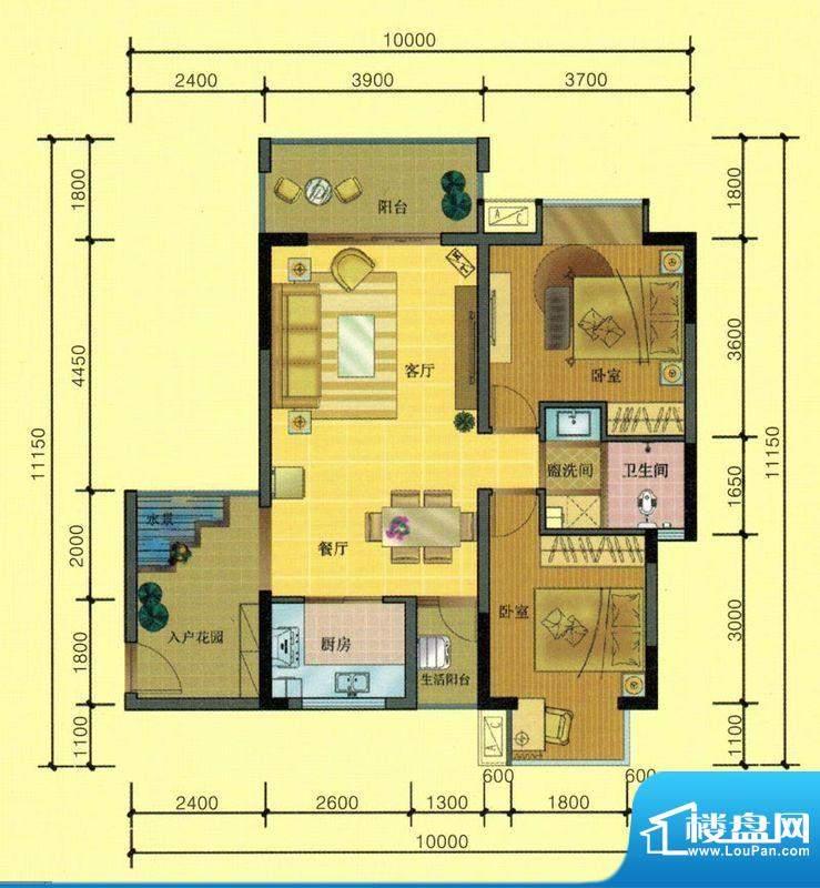 七彩城B4、E4户型图面积:81.19平米