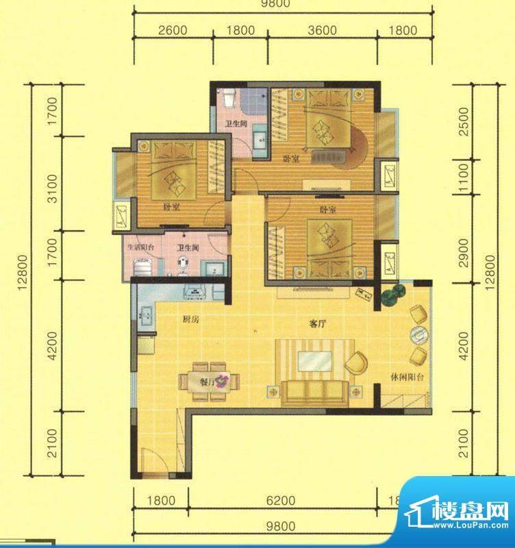 七彩城C1户型图 3室面积:106.34平米