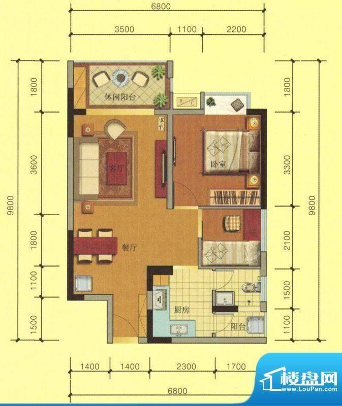 七彩城C2户型图 1室面积:65.62平米