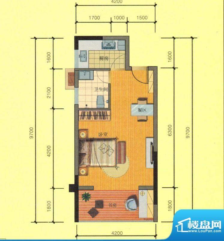 七彩城C6户型图 1室面积:41.58平米