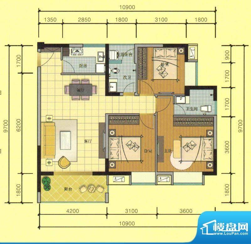 七彩城C7户型图 3室面积:101.53平米