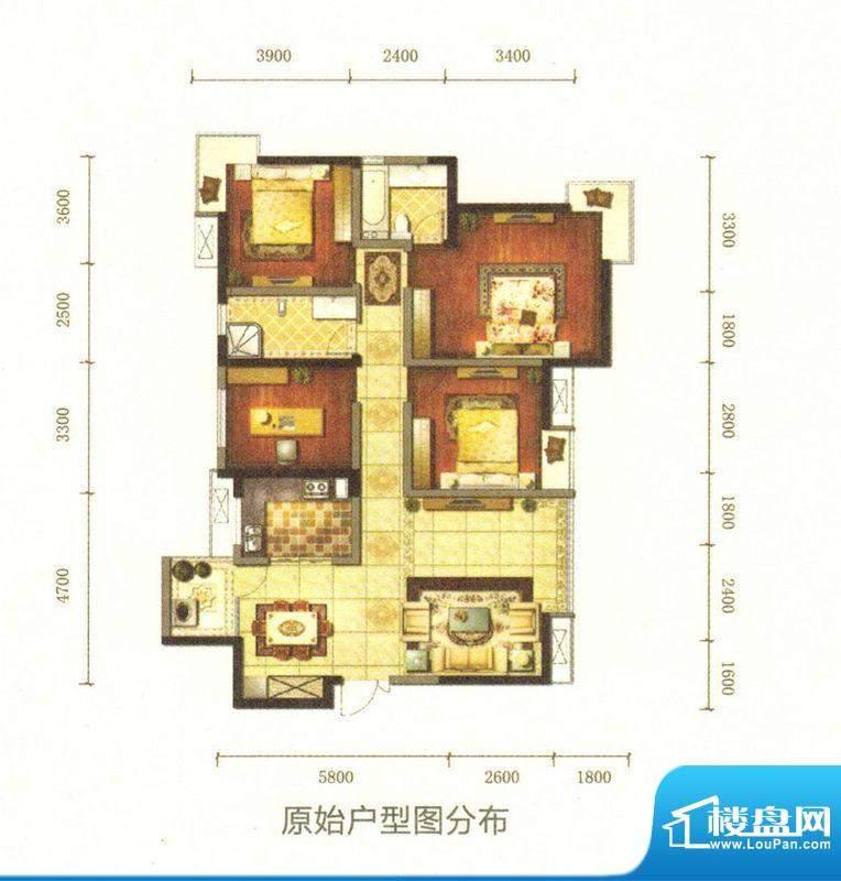 旌城一品D户型图 4室面积:137.00平米
