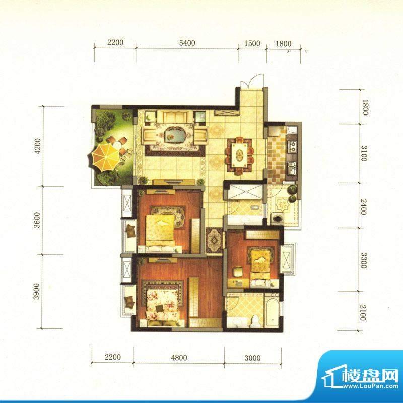 旌城一品J户型图 3室面积:123.11平米
