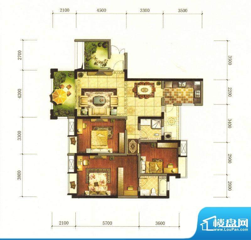 旌城一品N1户型图 3面积:135.78平米