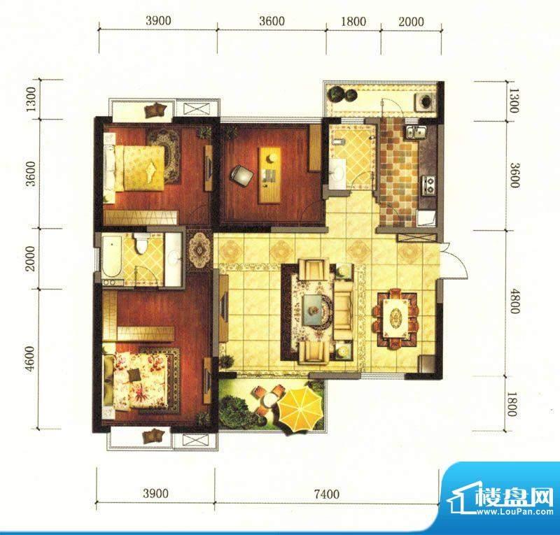 旌城一品Q户型图 3室面积:130.06平米
