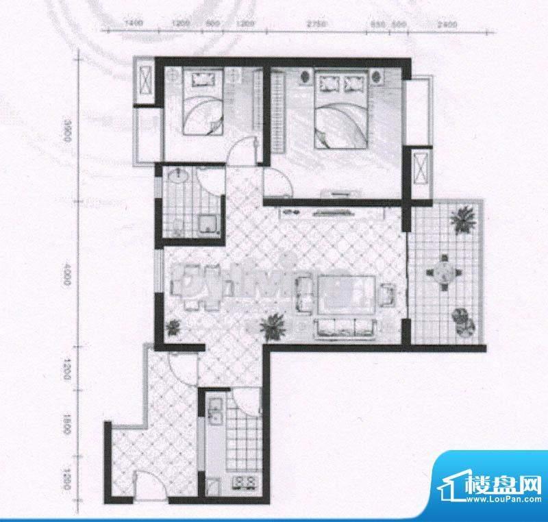 骏逸东山二期J2户型面积:83.85平米