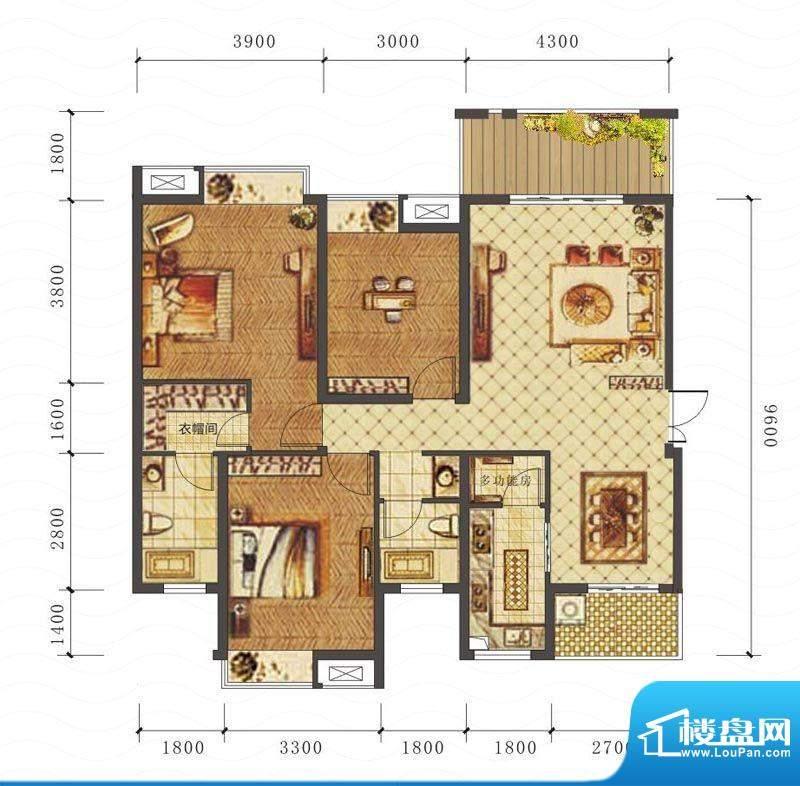山海天C户型图 3室2面积:119.30平米