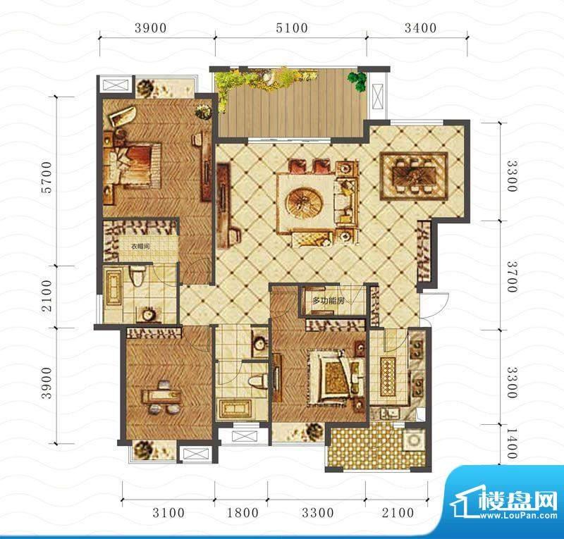山海天D户型图 3室2面积:142.17平米