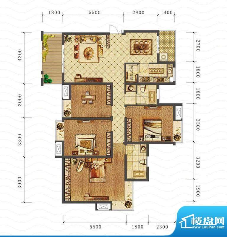 山海天E1户型图 4室面积:140.36平米