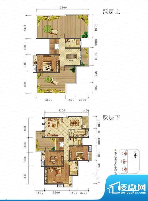 山海天E1户型图 4室面积:179.06平米