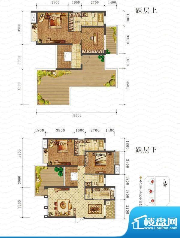 山海天E2户型图 4室面积:162.78平米
