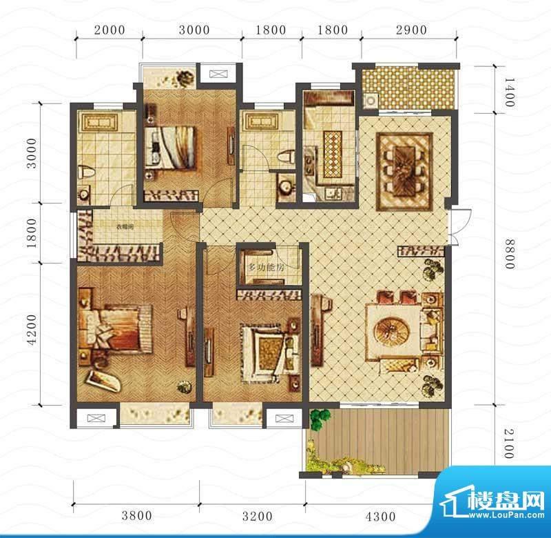山海天F户型图 3室2面积:126.81平米