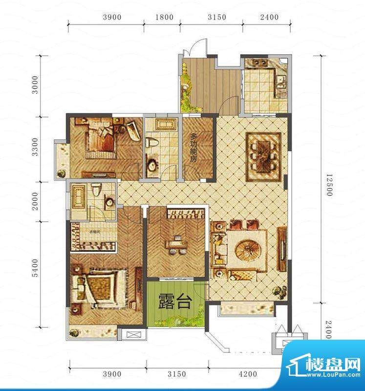 山海天A3户型图 3室面积:142.87平米