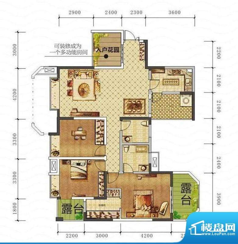山海天B1户型图 3室面积:142.90平米
