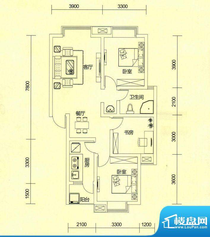 TOP尚城4D1户型图 3面积:93.42平米