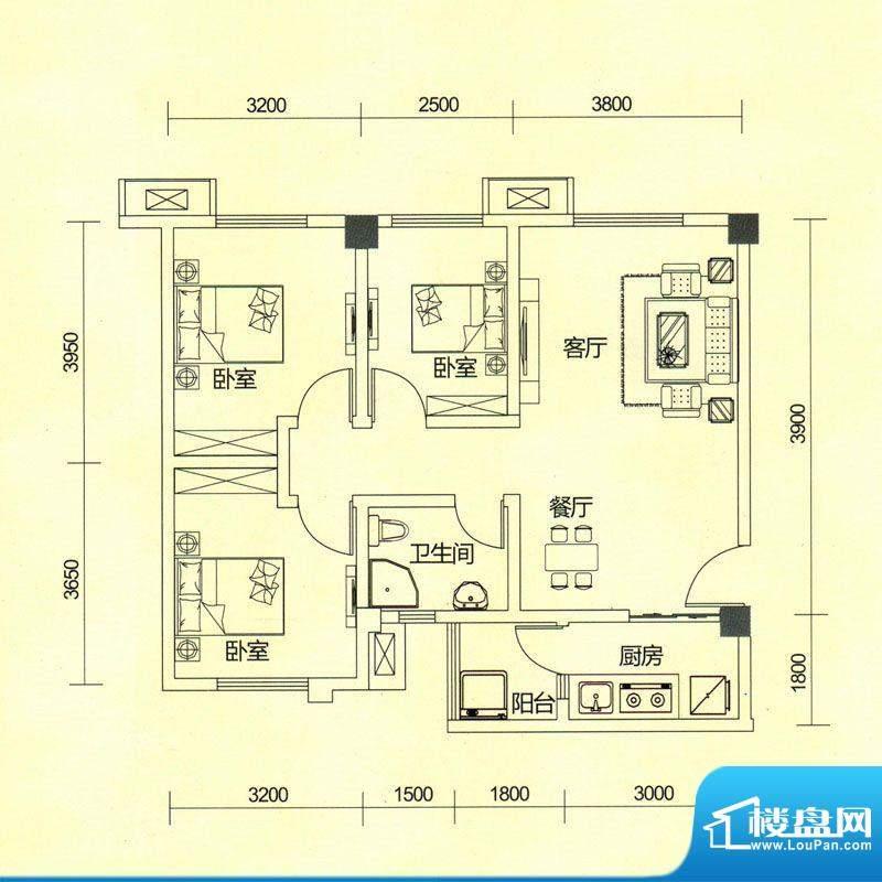 TOP尚城2A户型图 3室面积:80.62平米