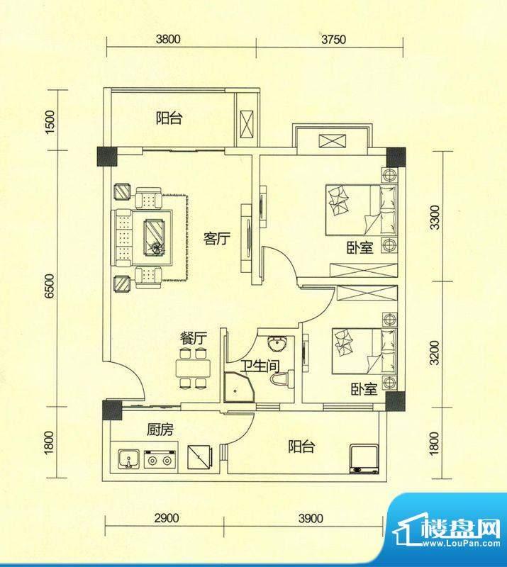 TOP尚城2C户型图 2室面积:78.19平米