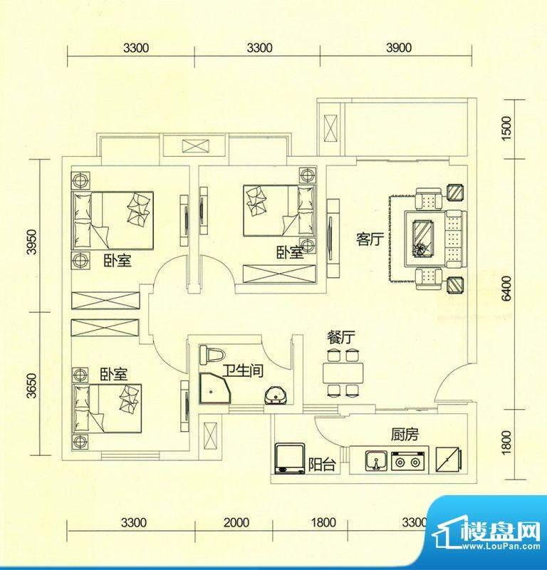 TOP尚城3A户型图 3室面积:92.37平米