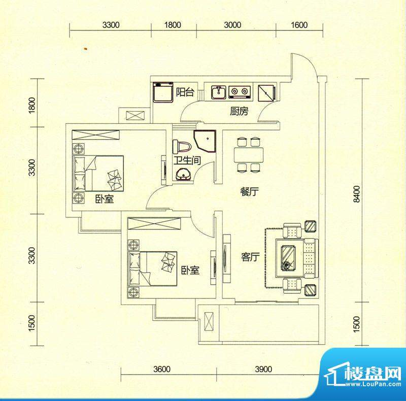 TOP尚城3B户型图 2室面积:76.71平米