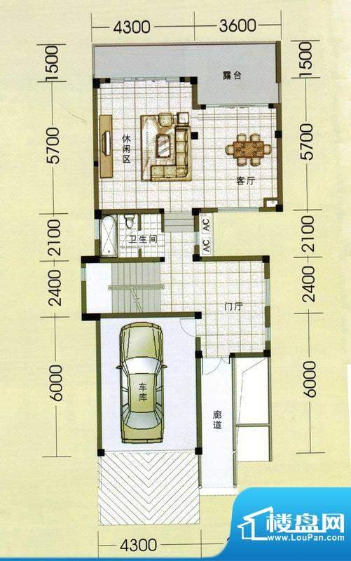 东山美庐E-一层户型面积:381.00平米