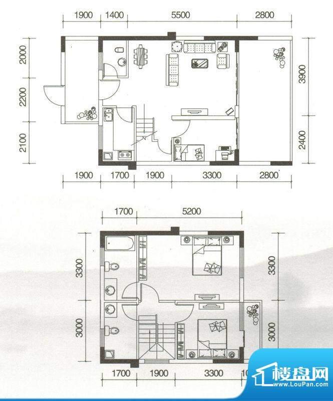 友山公馆G户型图 3室面积:109.18平米