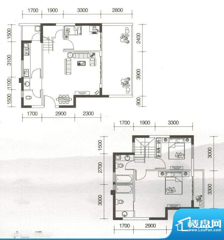友山公馆F户型图 3室面积:112.61平米
