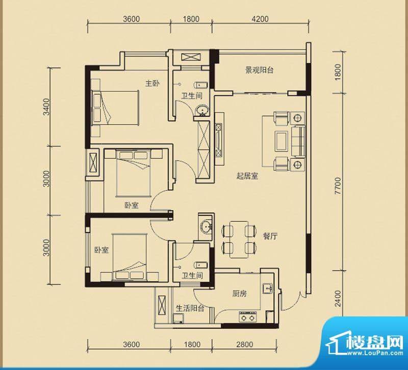 嘉皇·心悦城二号楼面积:114.57平米