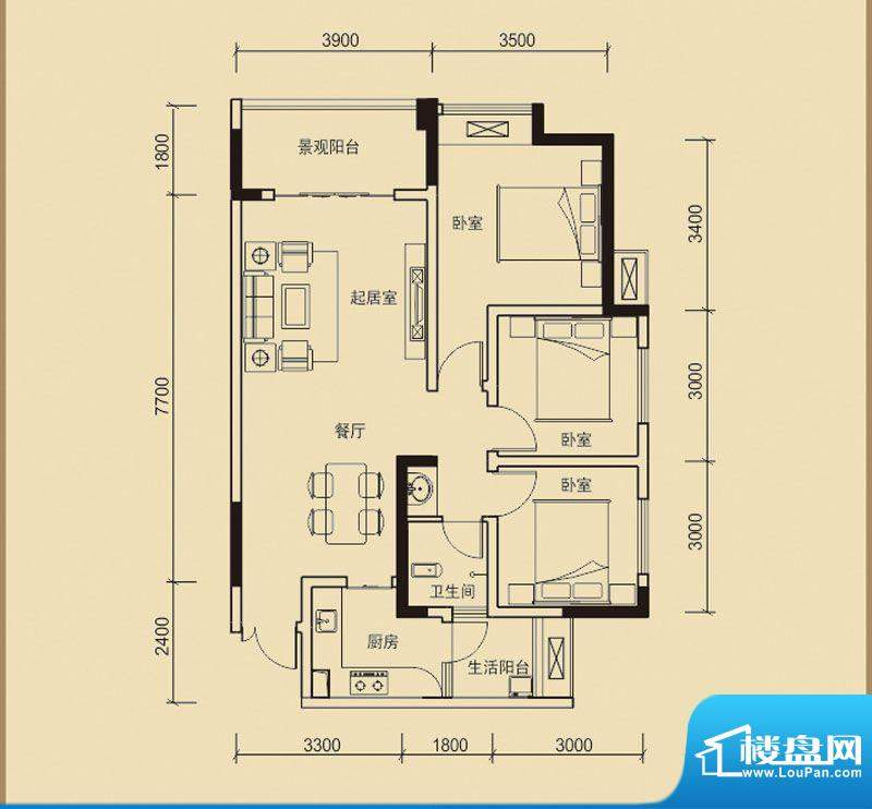嘉皇·心悦城二号楼面积:95.82平米