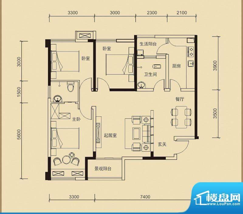 嘉皇·心悦城二号楼面积:112.40平米