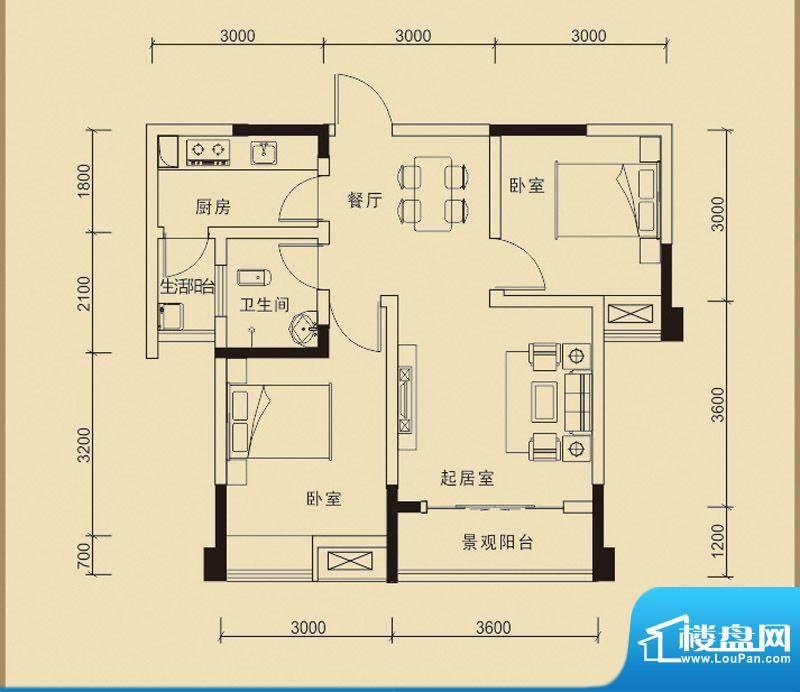 嘉皇·心悦城二号楼面积:65.13平米