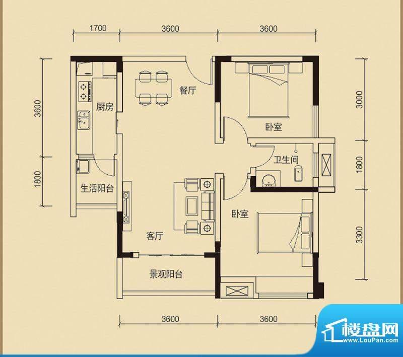 嘉皇·心悦城一号楼面积:78.81平米