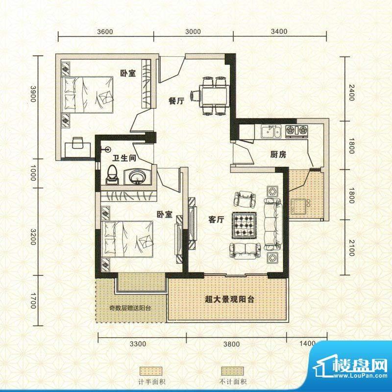 鑫恒香廷B2户型图 2面积:81.50平米