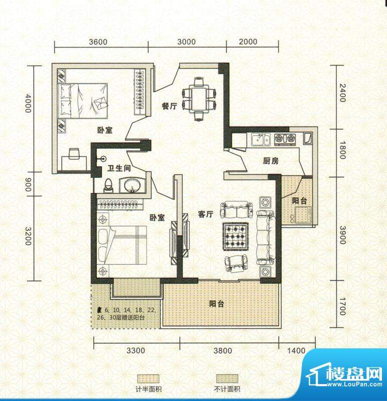 鑫恒香廷C2户型图 2面积:78.69平米
