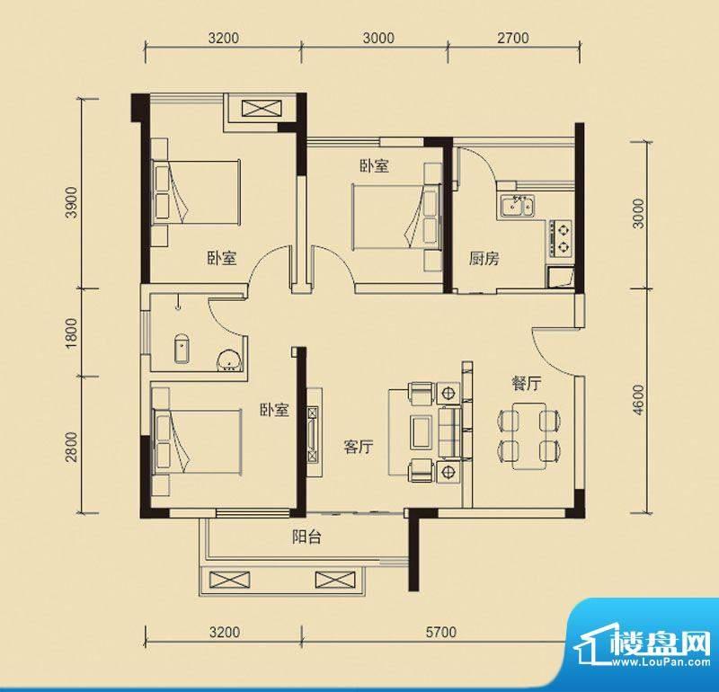 嘉皇·心悦城一号楼面积:85.13平米