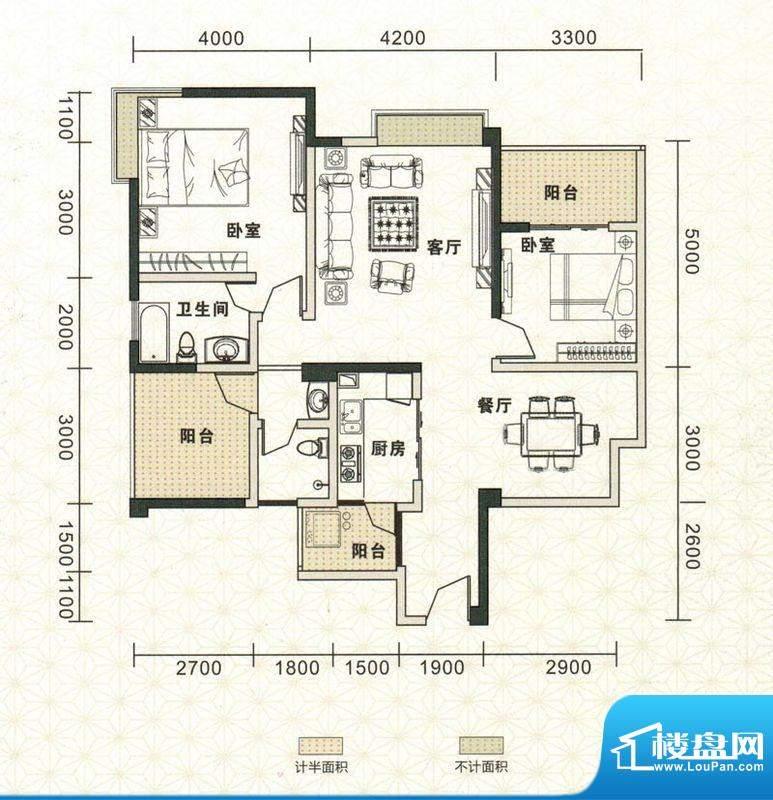 鑫恒香廷C3户型图 2面积:114.75平米