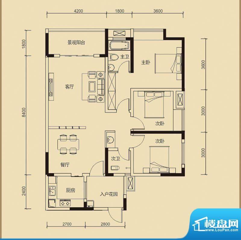 嘉皇·心悦城一号楼面积:120.50平米