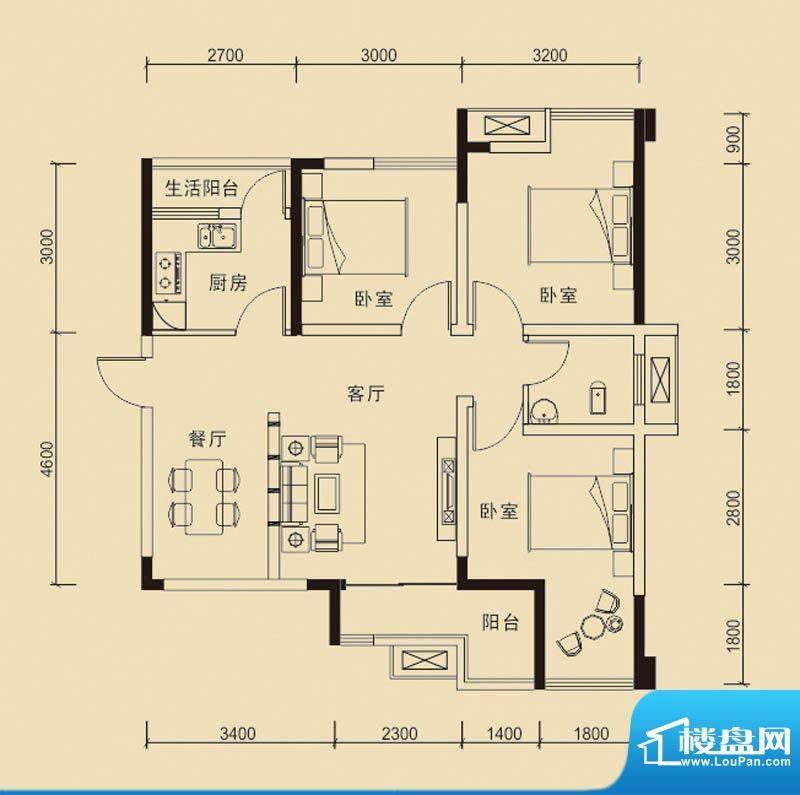 嘉皇·心悦城一号楼面积:89.36平米