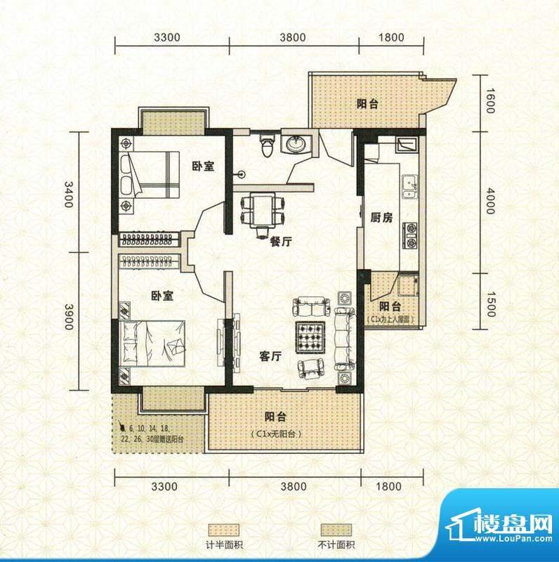 鑫恒香廷C1户型图 2面积:80.56平米