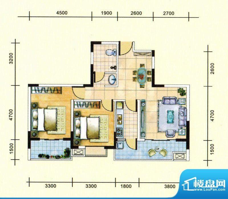 民福苑三期荷风苑F1面积:89.44平米