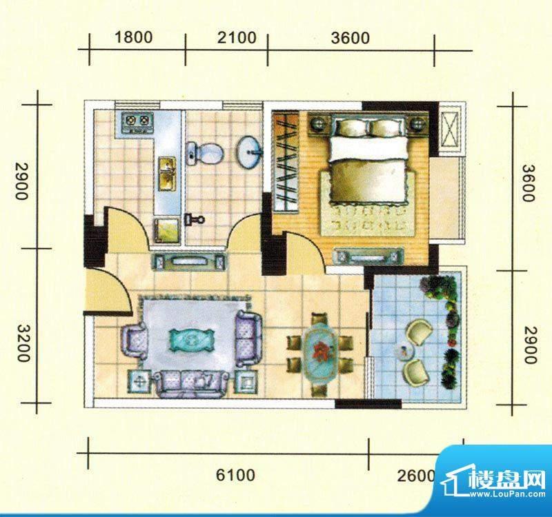 民福苑三期荷风苑D户面积:55.89平米