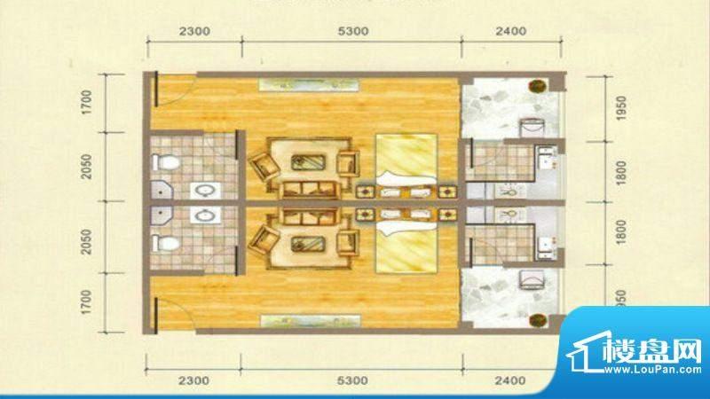 凯江盛世B6户型图 1面积:45.53平米