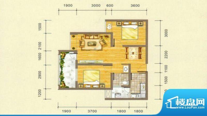 凯江盛世C2户型图 2面积:73.38平米