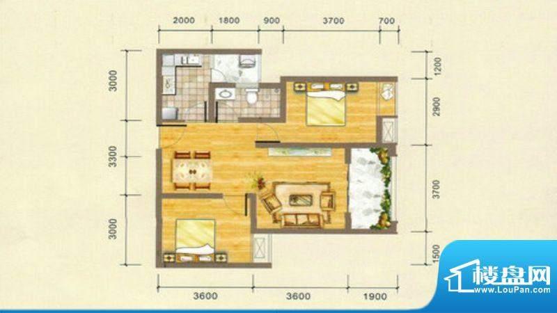 凯江盛世C4户型图 2面积:76.68平米